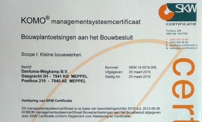 Dantuma-Wegkamp gecertificeerd  bouwplantoetser!